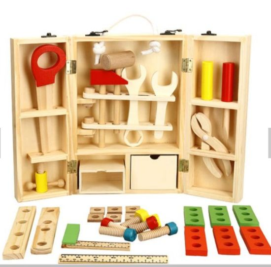 Creative DIY Wooden Portable Multi-Function Simulation Toolbox Set Kids Puzzle Play House Disassembly Toys
