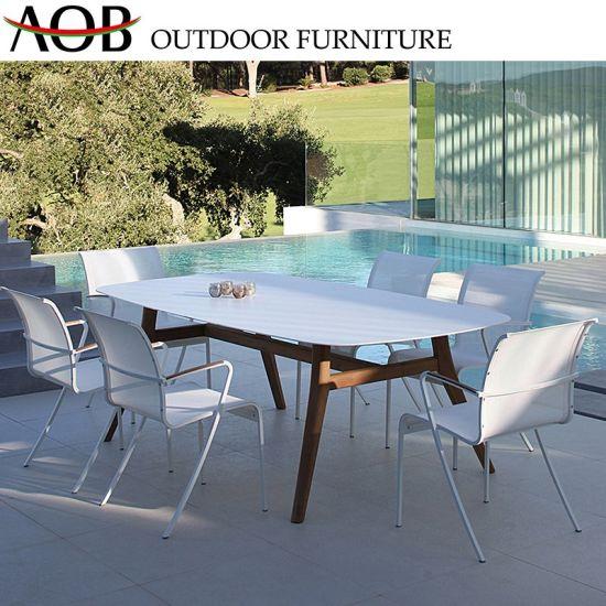 Wholesale Outdoor Dining Set Garden Hotel Furniture Poolside Textilene Chair Retangular Table
