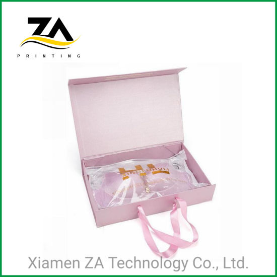 High End Sexy Paper Bra Box Packaging with Ribbon Handle