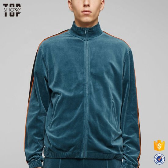 China Oem Factory Fashion Mens Blue Velour Tracksuits Velour Tracksuit Custom For Men China Jogging Suit And Track Suit Price