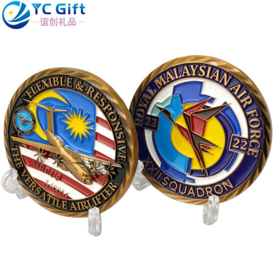 Custom Corporate Tourist Gift Silver Plastic Token Coins Police Military Aircraft Model Challenge Coin Metal Art Crafts Malaysia Air Force Awards Souvenir Coins