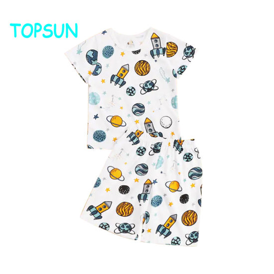 Boys Galaxy Print Kids Pajamas 100% Cotton Baby Suits Children Clothes
