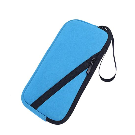 Neoprene Pencil Case Pouch Blue 2 Zippers