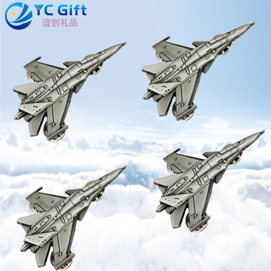 Customized Metal Art Crafts Aircraft Model 3D Plating Lapel Pin Army Military Flight to Commemorate Emblem Award Police Badges Medals for Eco-Friendly