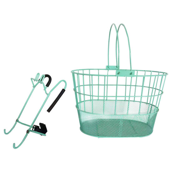 Popular Steel and Wire Bicycle Basket with Handle of Bicycle Parts