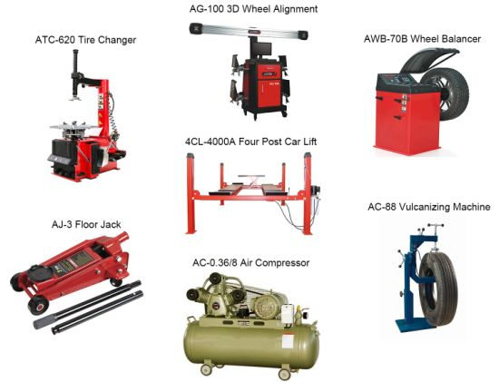 3D Car Wheel Alignment with Car Lift, Tyre Changer and Balancer for Repair Shop