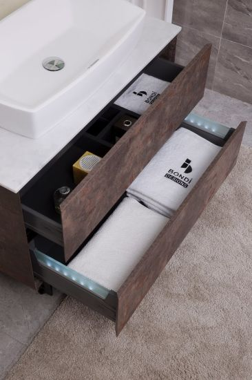 Floor Mounted Solid Surface Countertop Bathroom Cabinet pictures & photos