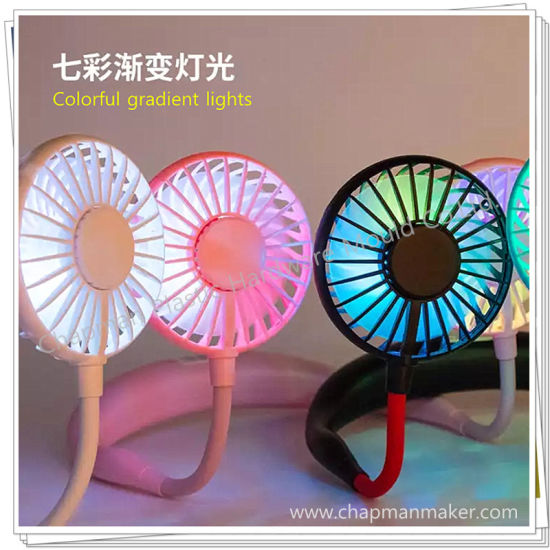Portable Mini Neck Fan - Rechargeable Portable Wearable Design USB Fans, 3 Speed 7 Color LED Light 360 Degree Adjustment Head.