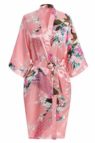 Premium Peacock Bridesmaid Bridal Shower Kimono Robe of Womens Gift