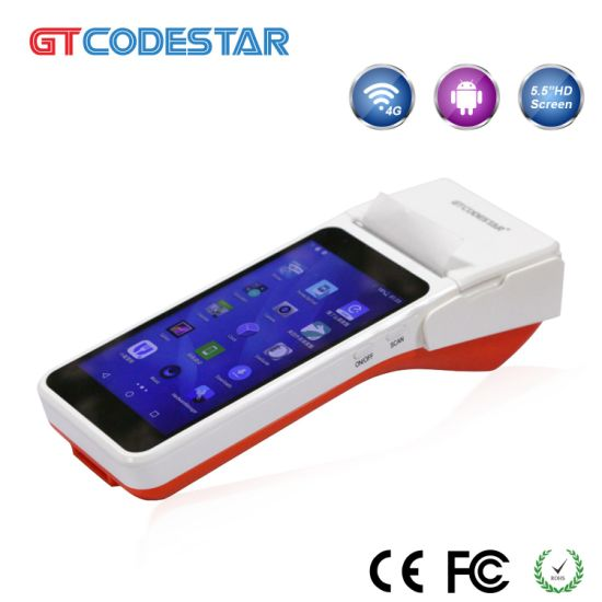 Cash Register Qr Code Barcode Scanner POS System with Built-in Thermal  Printer PDA