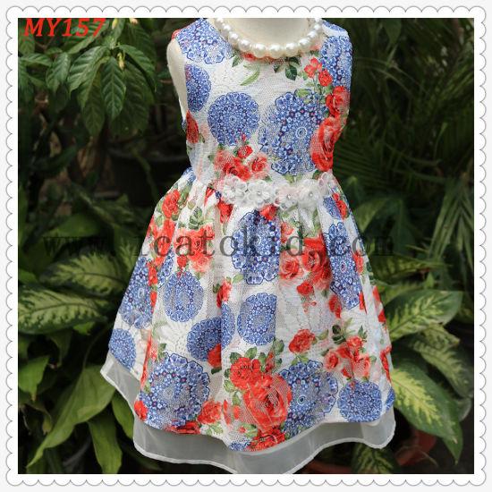 Children's Clothing Wholesale Girl Dresses Girl Dress Floral Print Skirt Pure Cotton