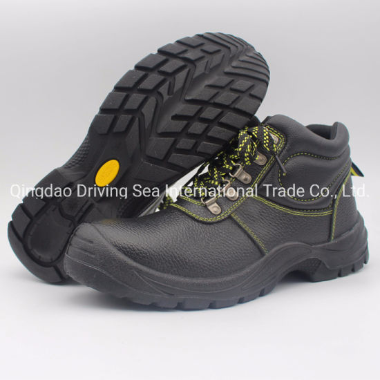 Safety Shoes with Black PU Injection Molding Process Work Shoes Leather Shoes