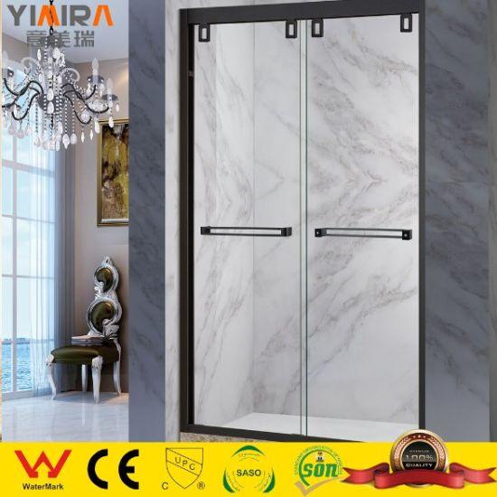 Framed Tempered Glass Shower Cubicles Black Sliding Shower Door