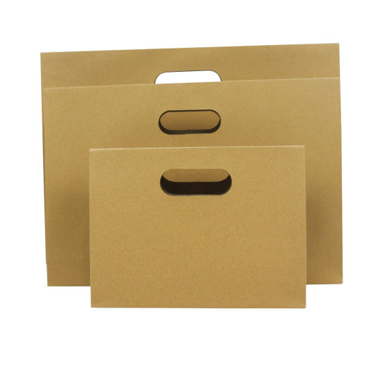 Machine Made Die Cut Handle Brown Paper Shopping Gift Bags