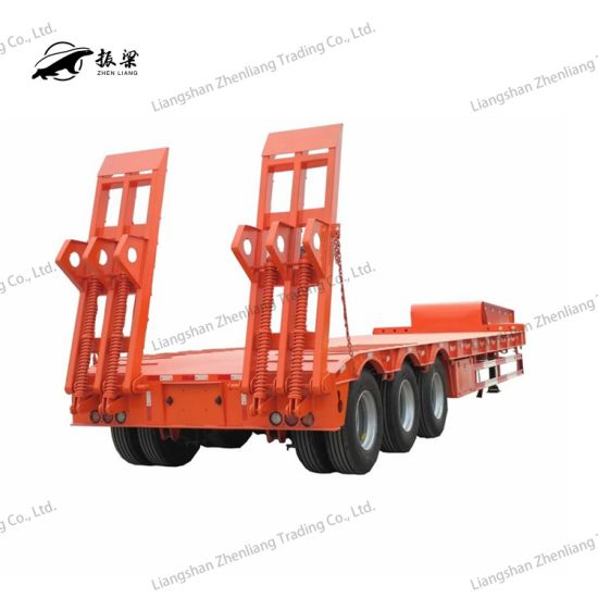 3 Axle 60/70/80 Ton Heavy Duty Gooseneck Low Loader/Lowbed/ Lowboy Low Bed Trailer Truck Semi Trailers for Excavator Transport