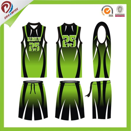China Custom Grenn Women Basketball Jersey Design Philippines