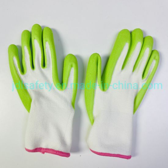 13 Gauge Bamboo Spandex Knitted Green Cute Kids Women Favorite Soft Hand Feeling Garden Work Glove pictures & photos