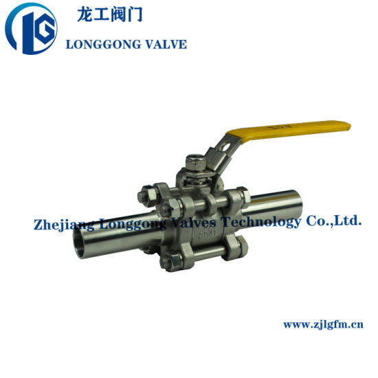 1000wog 3PC Stainless Steel 304 316 Butt Welding Lengthened Pipe Ball Valve with 2 100mm Nipples