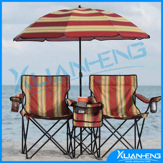 0b5ed10b6a 2 Person Folding Beach Chair with Umbrella and Table