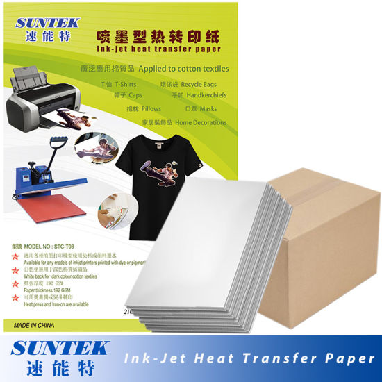 china inkjet dark color heat press transfer paper for t shirt stc