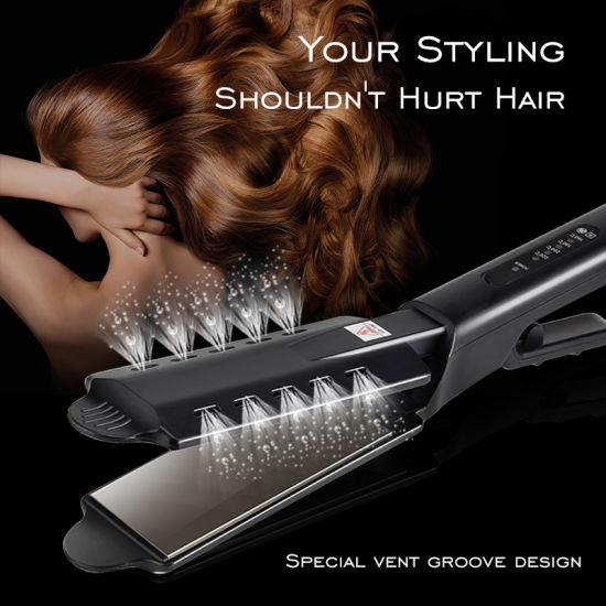 Salon Wet Dry Fast Styler Titanium Ceramic Tourmaline Ionic Flat Iron Steam Hair Straightener