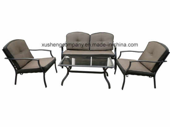 Outdoor Garden Patio Aluminum+ Steel 4PCS Furniture Sofa Set pictures & photos