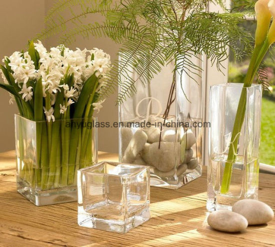 China Square Transparent Decoration Glass Flower Vase China Glass