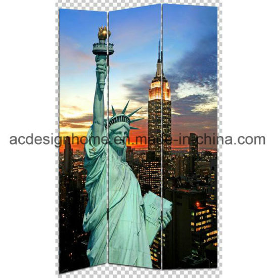 Most Por Hot Best Price Quality United State New York City Print 3 Panel Canvas Wooden Screen Room Dividers
