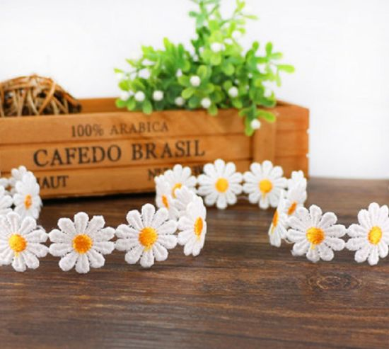 Cute Daisy Embroidery Trim Flower Lace for Hair Clasp pictures & photos