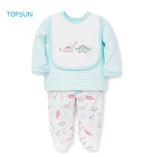 Newborn Infant 3 PCS Clothes Kids Girl Outfits Children Baby Skin-Friendly Products Layette Sets with Bib
