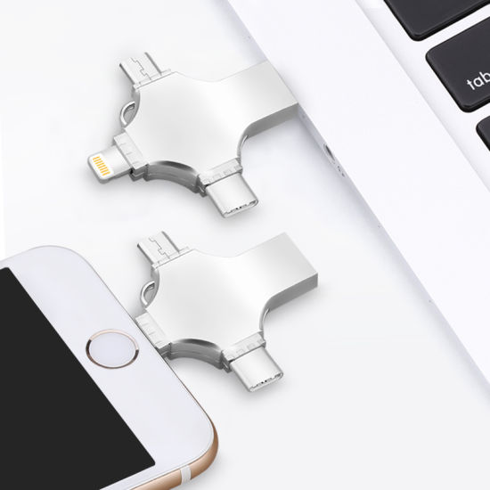 4 in 1 Metal Flash Drive for iPhone Type C Android OTG023 (Sengston)