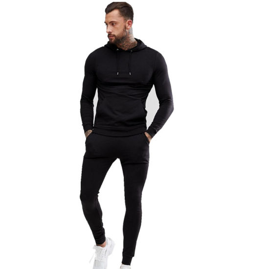Competitive Price Men′s Plain Cotton Hoody and Pants Sweat Suits Wholesale Jogging Suits Sport Black Tracksuit pictures & photos