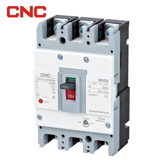 CNC Ycm7 3p 4p MCCB Thermal Magnetic Adjustable Circuit Breaker MCCB IEC60947-2 Approved for Power Distribution Motor Protection Moulded Case Circuit Breaker