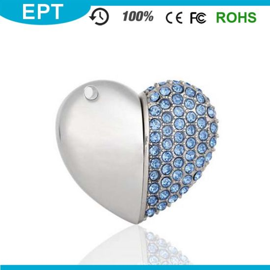 8GB Silver Crystal Heart Shape Jewelry USB Flash Drive with Necklace pictures & photos