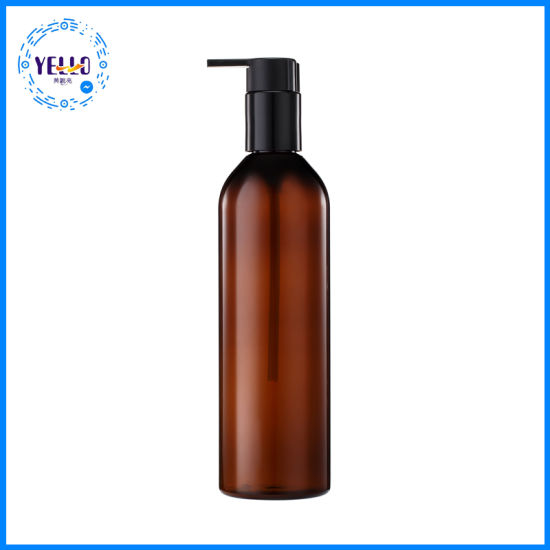 Cosmetic Packaging Amber Plastic Pet Shampoo Bottle with Pump