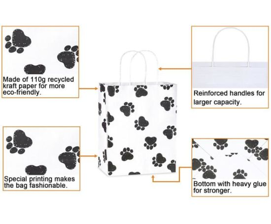China Kraft Gift Bags Dog S Paw Prints Paper With Handles