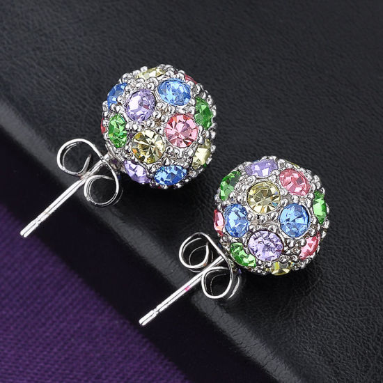 Fashion Zinc Alloy Jewelry Ball Shaped Colorful Crystal Earring pictures & photos