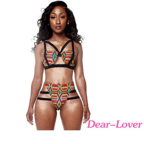 African Print Inspired Two Piece Bathing Suit Bikini Swimwear