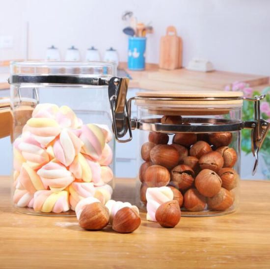 High Borosilicate Glass Jars with Bamboo Lids pictures & photos
