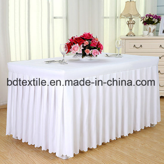 High Quality Wholesale 100% Polyester Table Cloth for Hotel /Wedding pictures & photos