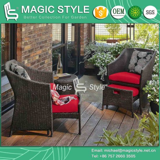 China Rattan Coffee Set Cafe Set Wicker Sofa Leisure Sofa Patio Furniture Garden Furniture Outdoor Furniture Wicker Chair With Footstool Hotel Project Magic Style China Rattan Wicker Furniture Outdoor Furniture