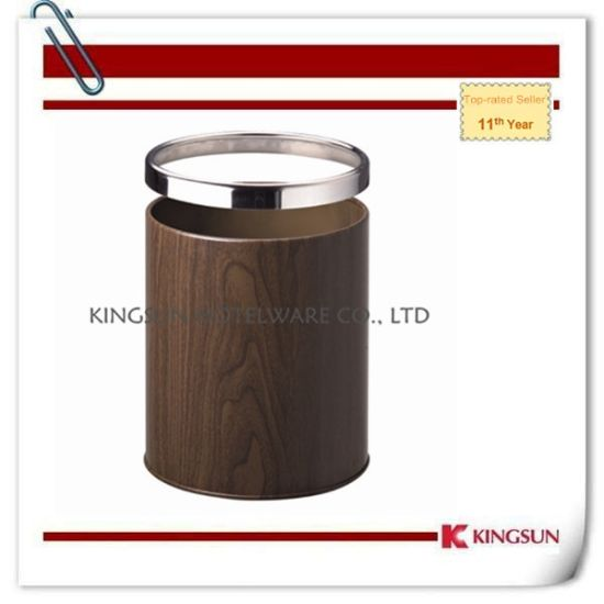 Brown Color Metal Garbage Bin Without Lid for Office Use Db-733