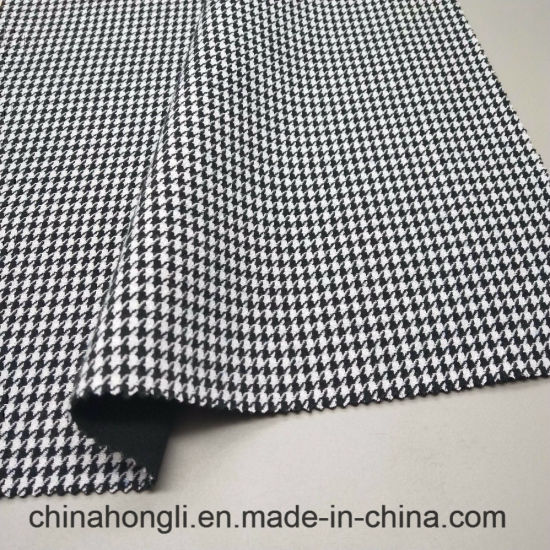 White and Black Yarn Dyed Dog Tooth/Swallow Grid Fabric Polyester Rayon Spandex Blend for Women Coat, Skirt