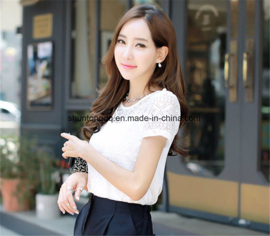 4f955cf7d34 [Hot Item] Women Clothing Chiffon Blouse Lace Crochet Female Korean Shirts  Ladies Blusas Tops Shirt White Blouses Slim Fit Tops