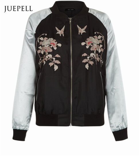 5ac58ecb7fd China Black Floral Print Bomber Women Jacket - China Print Jacket ...