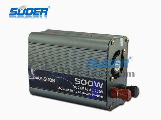 Suoer Hot Sale 500W DC 24V to AC 220V Power Inverter (SAA-500B) pictures & photos