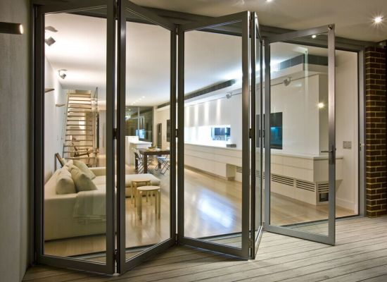 China Low E Glass Aluminium Folding Doors For Shopfront Commercial