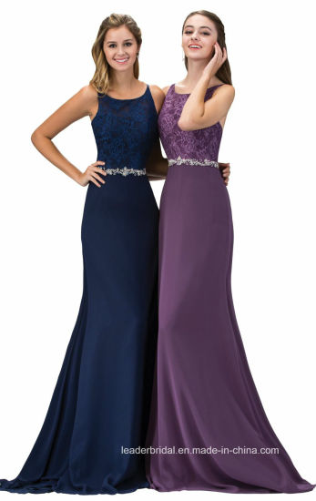 Beading Party Prom Dresses Navy Purple Lace Evening Dress G12163