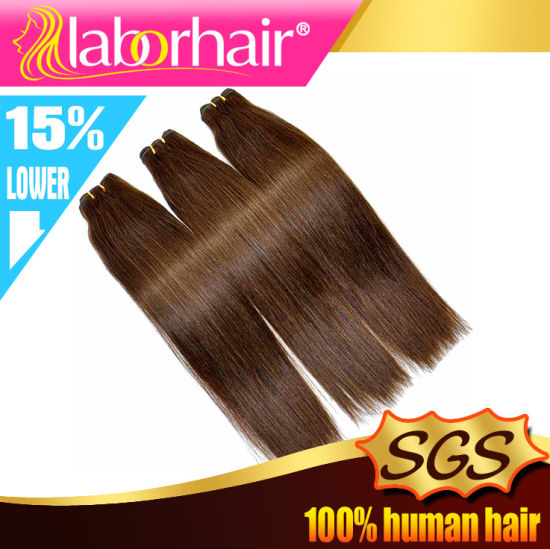 Color #4 Straight 100% Human Remy Hair Weft pictures & photos