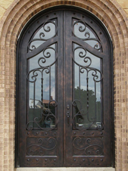Square Top Custom Securrity Comtemporary Wrought Iron Double Door pictures & photos